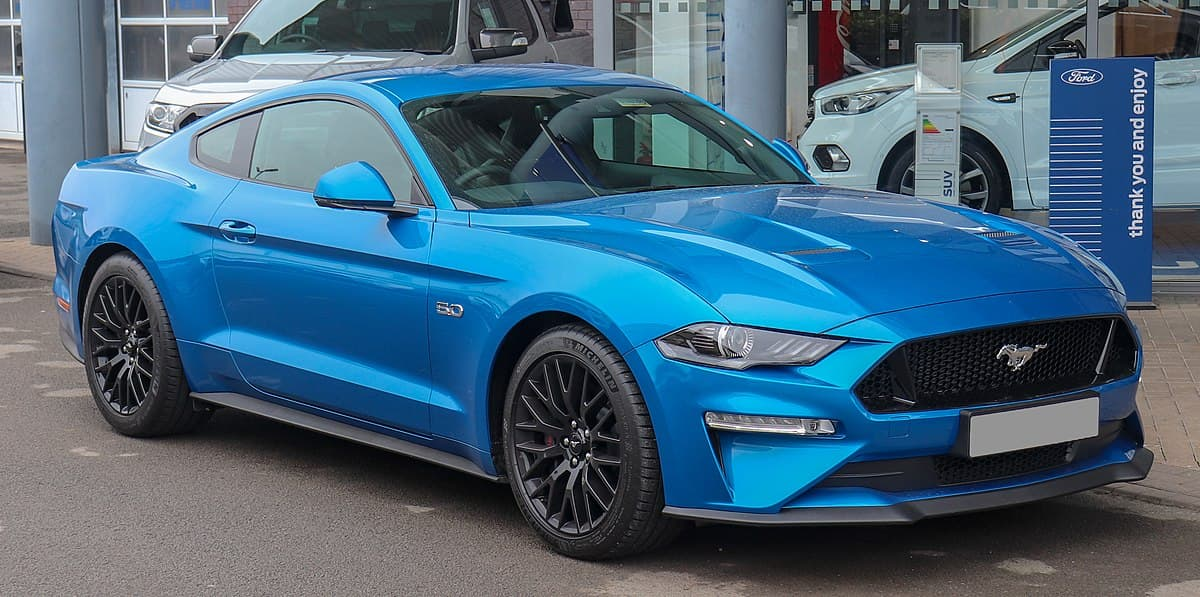 A picture of a blue 2019 Ford Mustang