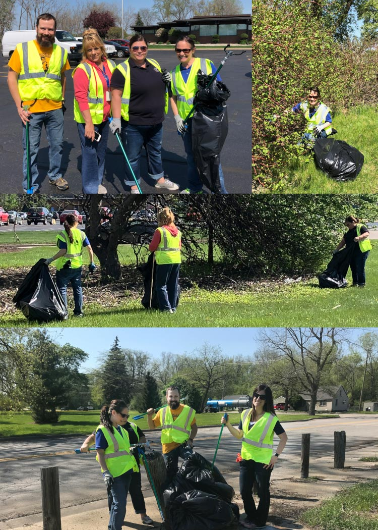 A photo collage of employees helping clean up litter between East Lyon and East Patrick roads, from Lincoln Street to Washington Street, including around the bicycle and pedestrian path that runs through the boulevard – through the Adopt-A-Street program