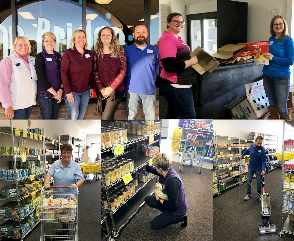 A collage of images showing DCECU employees stocking shelves with non-perishable food items at The Bridge Food Center in Midland Michigan