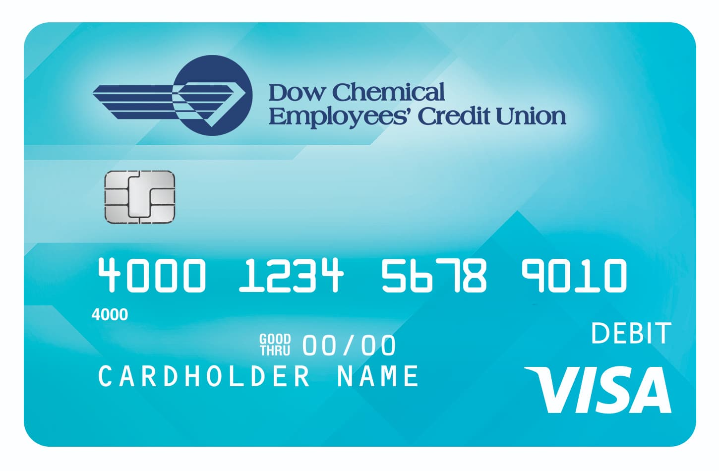 An image of the new blue DCECU Visa Debit card