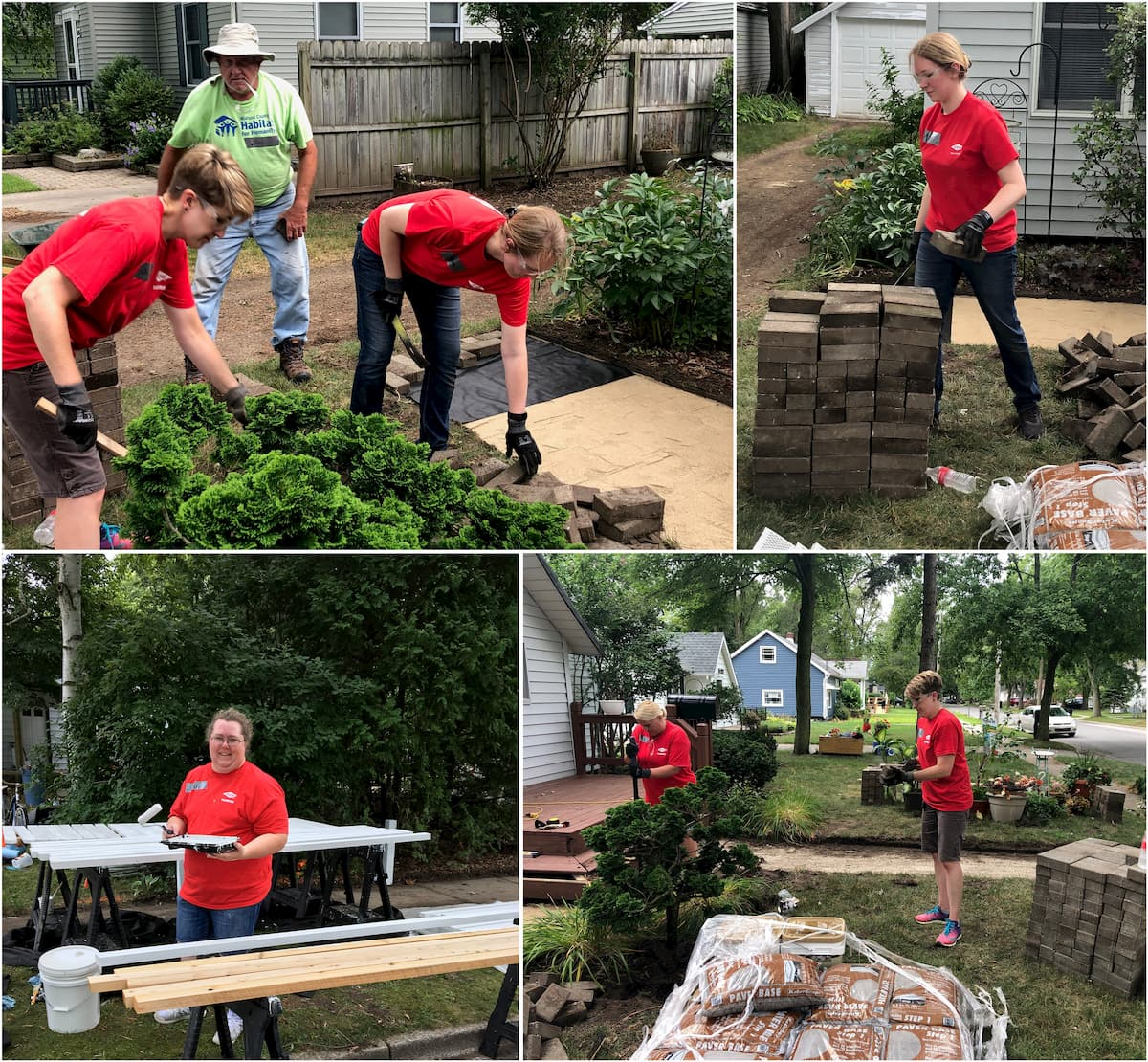 A collage of images showing DCECU employees working in the yard of a Habitat for Humanity house in Midland Michigan