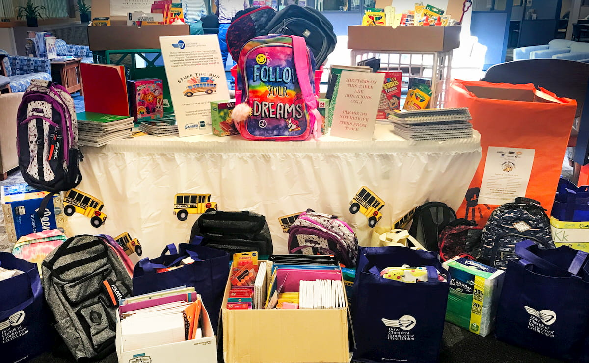 A table covered and surrounded by childrens' school supplies, including backpacks