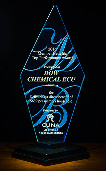 2016 Member Benefits Top Performance Award Presented to Dow Chemical ECU for Delivering a direct benefit of $639 per member household -- Presented by CUNA