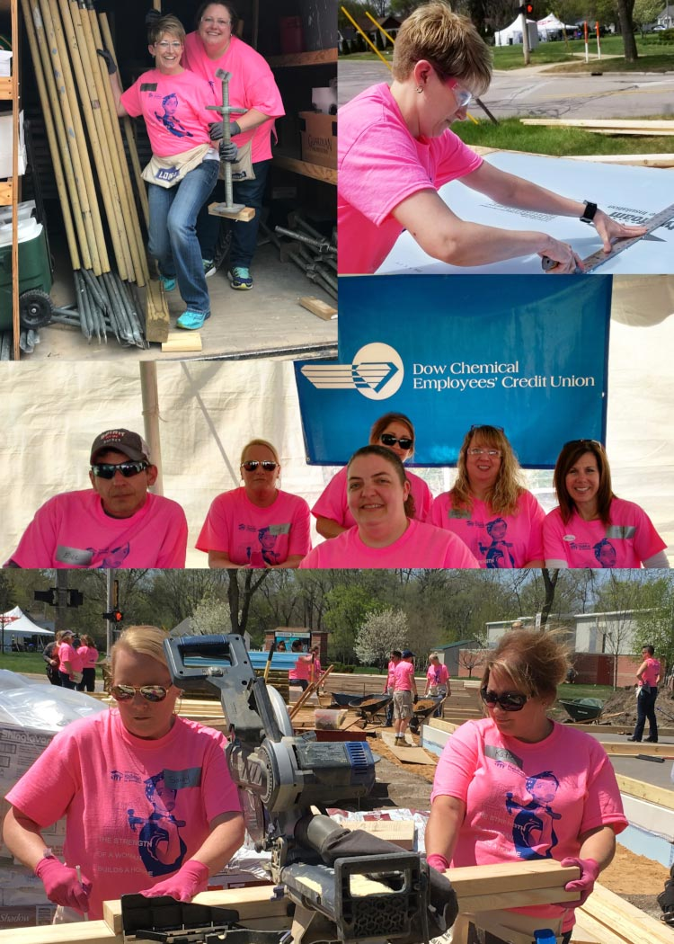 A photo collage of employees, mostly women, working construction for Habitat for Humanity